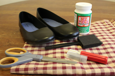 Give new life to an old pair of shoes with fabric and Mod Podge: Supplies