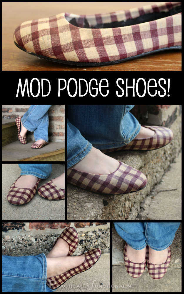 Give new life to an old pair of shoes with fabric and Mod Podge!