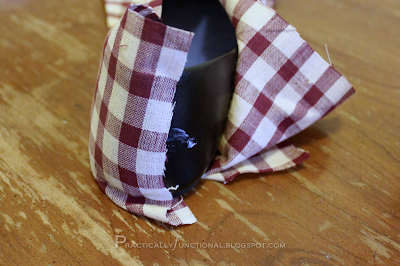 Step Six: Cover one side of the heel