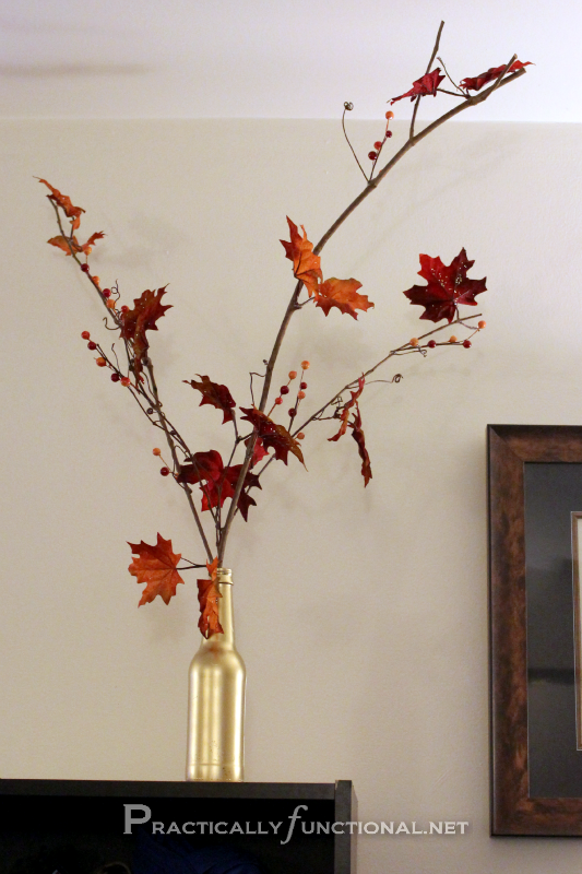 Easy fall decor: You just need leaves, glue, and a vase!