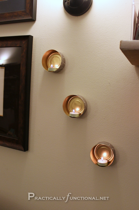 Wall Hung Tea Light Holders : Wall-Mounted Tin Can Tea Lights - Practically Functional