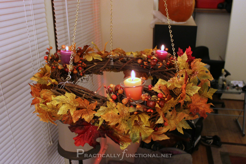 Simple Hanging Fall Wreath Chandelier Tutorial