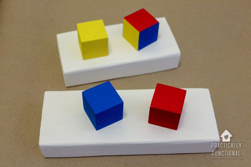 painted wooden blocks and scrap wood