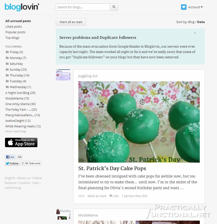 Google Reader Alternatives: Bloglovin'