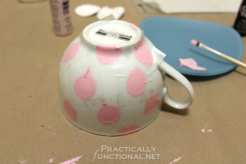 DIY Minnie Mouse Mug - Painted Polka Dots