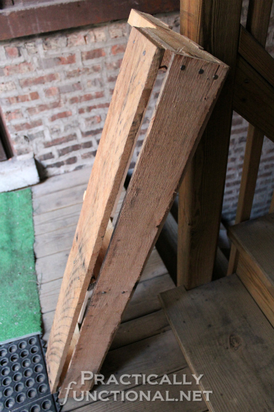 DIY Rustic Pallet Shelf Tutorial from PracticallyFunctional.net | Bottom added to pallet shelf