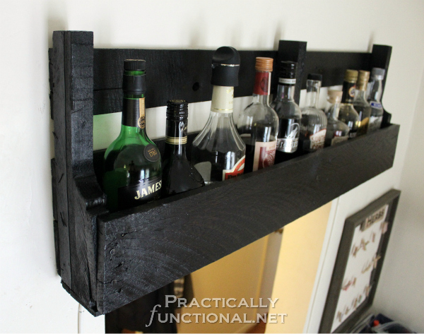 DIY Rustic Pallet Shelf Tutorial from PracticallyFunctional.net | DIY Rustic Pallet Shelf