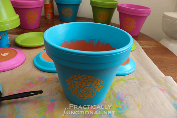 Painted Flower Pots - Paint an inch or two down the inside as well