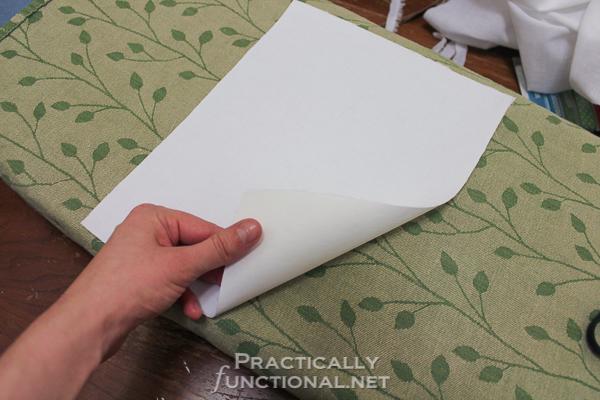 DIY Custom Printed Fabric Tags - Iron freezer paper onto fabric