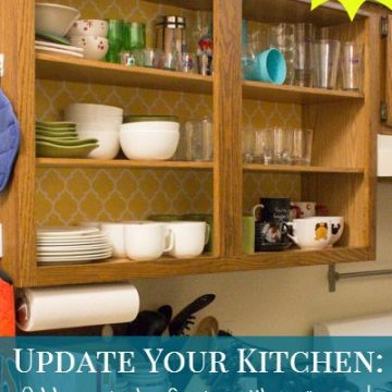 Rental Friendly Kitchen Update: Wallpaper your cabinets to add a splash of color! Tutorial from PracticallyFunctional.net