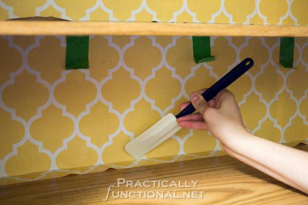 Rental Friendly Kitchen Update: Wallpaper your cabinets
