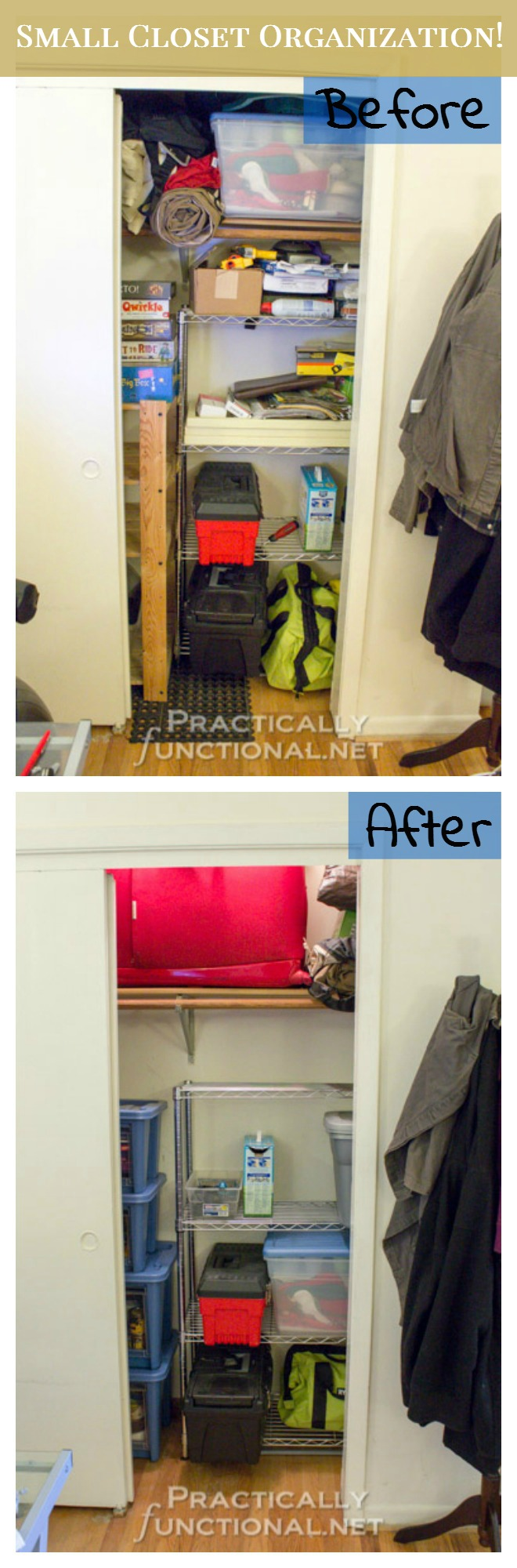 Small Apartment Solutions - Closet Organization Before And After