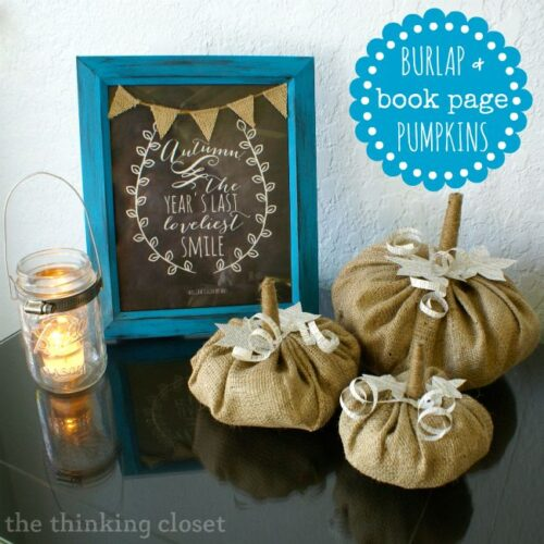 Burlap & Book Page Pumpkins from The Thinking Closet