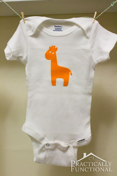 Virtual Baby Shower: DIY Baby Animal Graphic Onesies - Orange giraffe