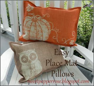 Easy Place Mat Pillows from Sweet Pepper Rose