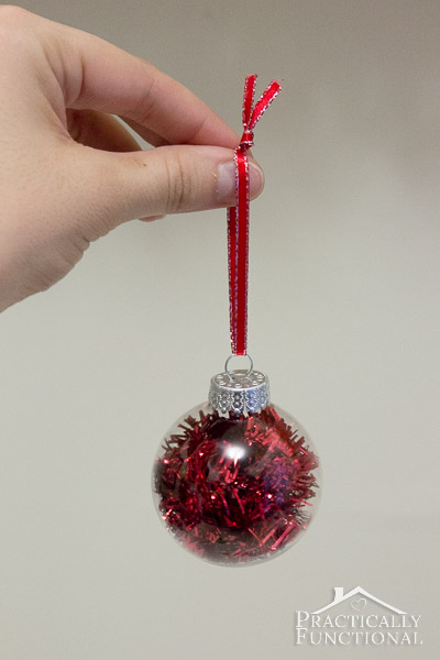 DIY Glass Ball Christmas Ornaments - Red tinsel