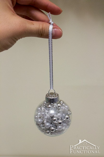 DIY Glass Ball Christmas Ornaments - White pearls and silver ribbon