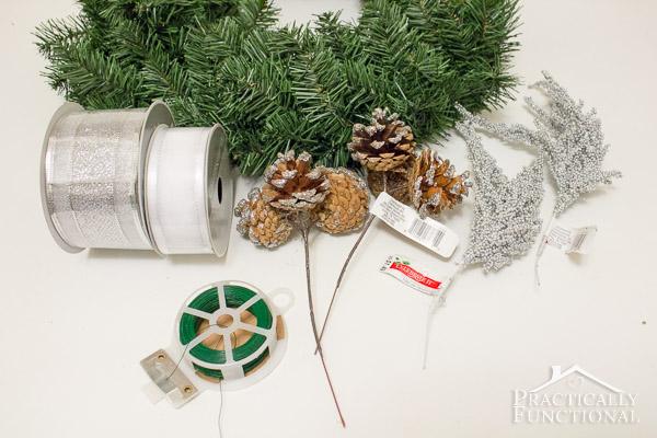 DIY Silver Pine Cone Wreath - Materials