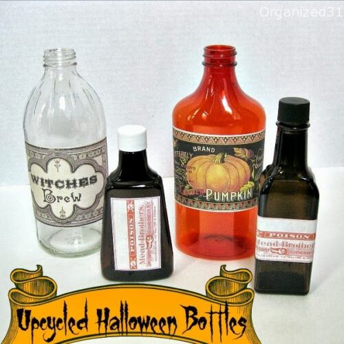 Upcycled Halloween Bottle Decorations from Organized 31