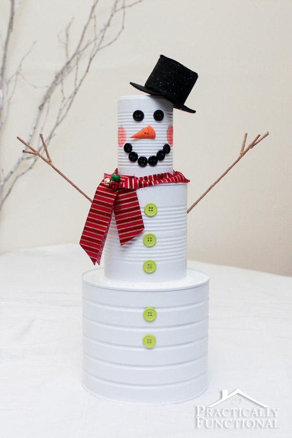 Diy Christmas Craft Tin Can Snowman