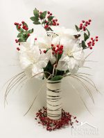 DIY Elegant Winter Poinsettia Centerpiece