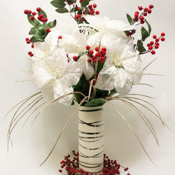 DIY Elegant Winter Poinsettia Centerpiece