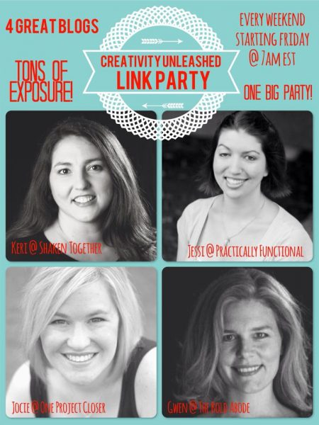 Creativity Unleashed Link Party! Fridays at 7am!