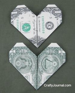 Dollar Bill Heart from Crafty Journal