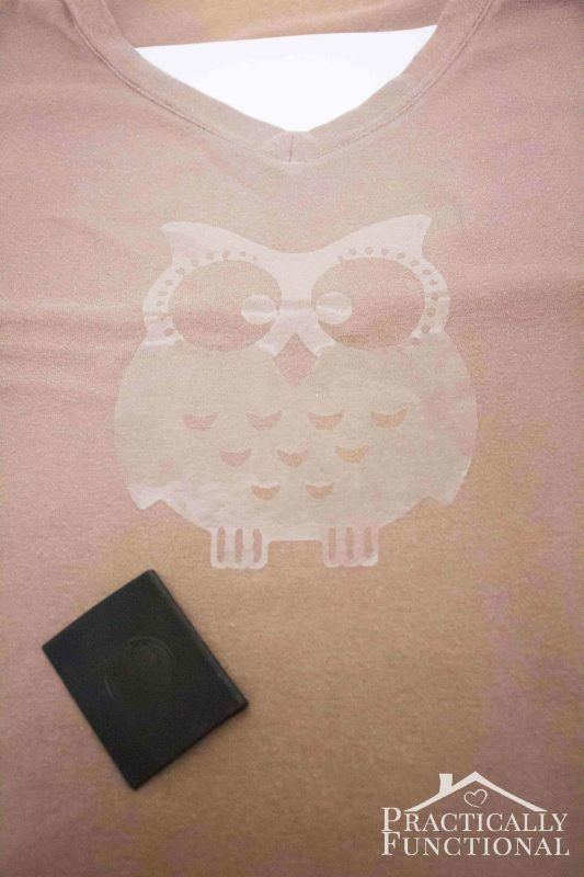 DIY bleach spray shirt with an adhesive owl stencil