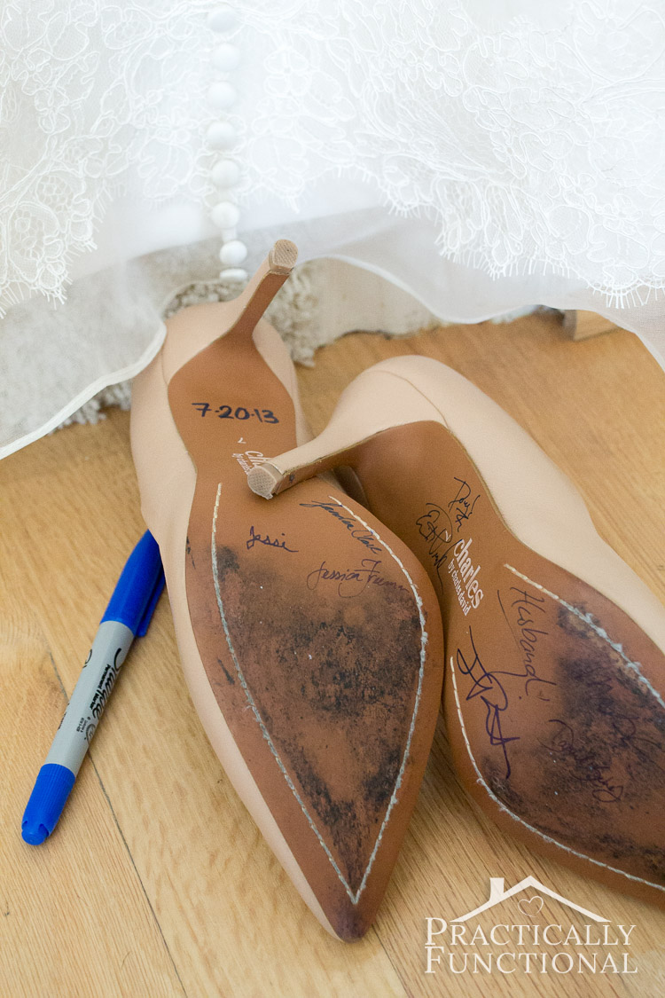 "Sign the soles of the brides shoes so she has a personalized wedding keepsake! Bonus if you use a blue marker so the bride has her ""something blue""!"