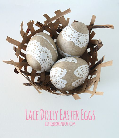 DIY Lace Doily Easter Eggs from Little Red Window