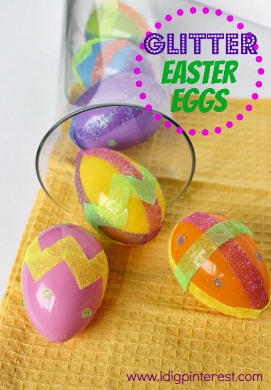 Glitter Easter Eggs Kids' Craft from I Dig Pinterest