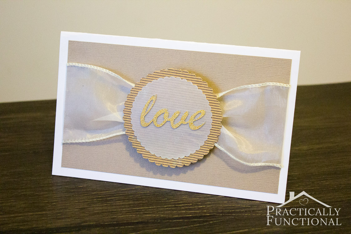 "Make your own DIY ""love"" wedding card with ribbon and vellum {+ free cut file!}"