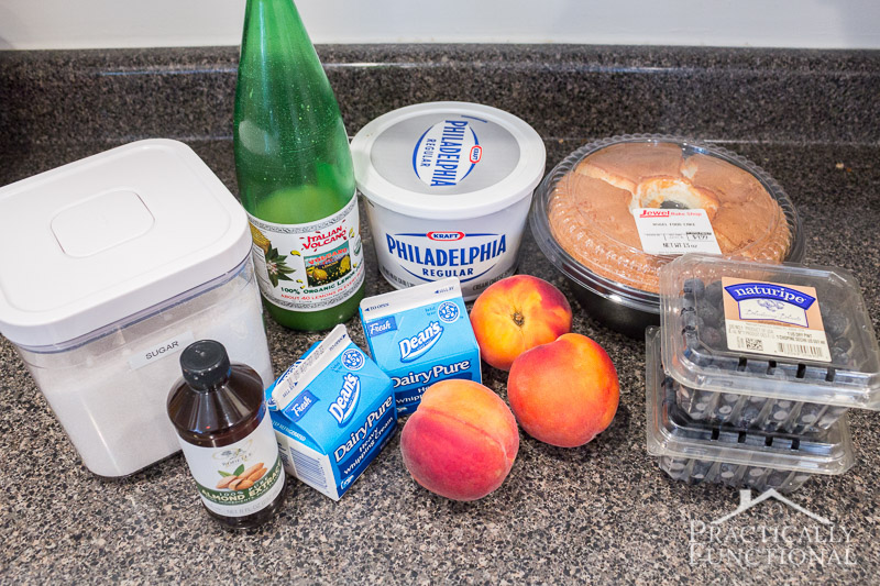 Ingredients needed to make a summer peach blueberry trifle