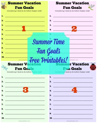 Summer Vacation Fun Goals Printable from Pink When