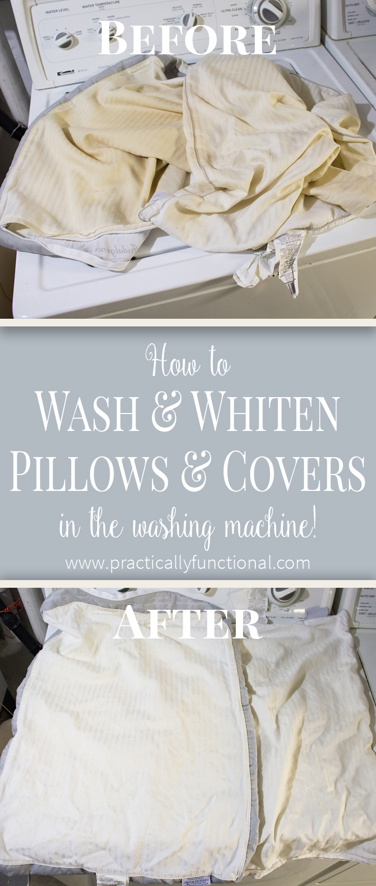 Did you know you can whiten pillow covers in your washing machine?! This tutorial shows you how, and they come out bright white, like new!