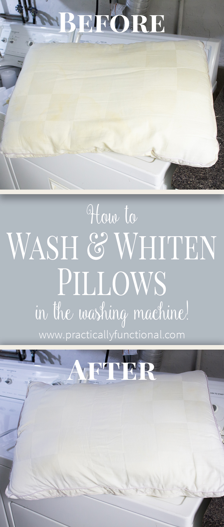 Did you know you can wash & whiten pillows in your washing machine?! This tutorial shows you how, and they come out bright white, like new!