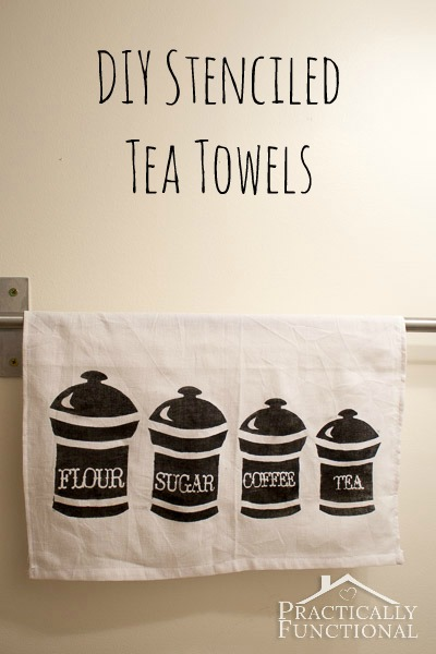 Make your own stenciled tea towels in just a few minutes! All you need is fabric ink, a stencil, and a sponge brush!
