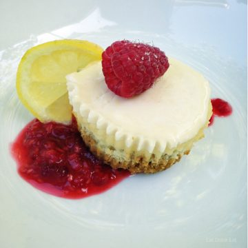 The best mini cheesecakes with raspberry lemon topping from EatDrinkEat.com