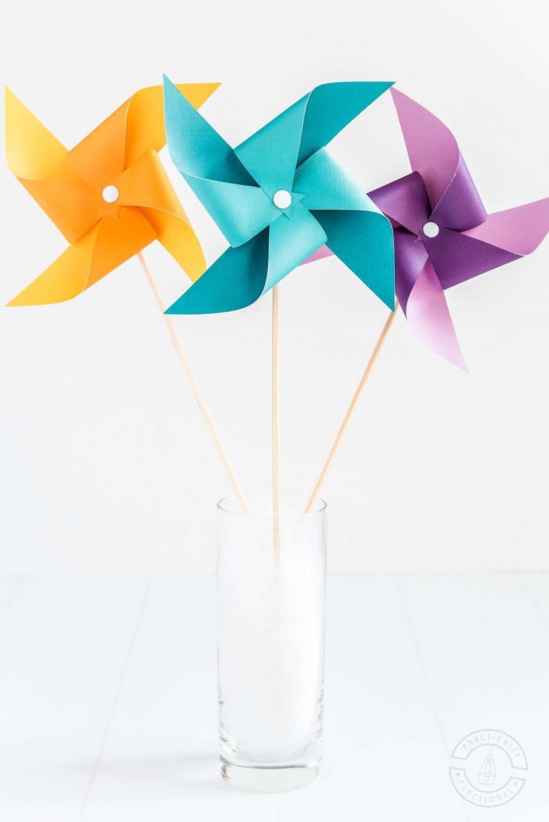 Easy pinwheel template for making paper pinwheels