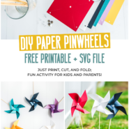 Easy pinwheel template to make paper pinwheels in just a few minutes
