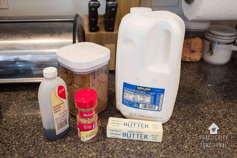 Ingredients for making a butterbeer latte at home