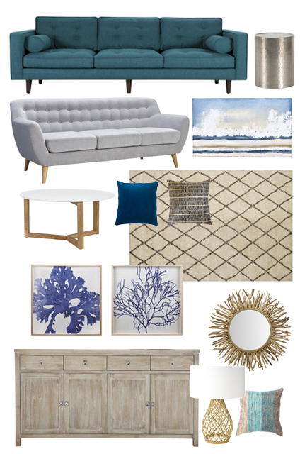 Modern Coastal Mood Board: a modern coastal feel that is sophisticated, comfortable, and perfect for the beach!