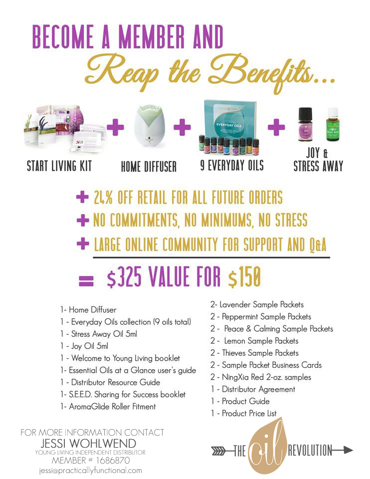 Welcome to the club! Sign up to get Young Living essential oils at 24% off for forever, and get all this as well at a huge discount! http://practicallyfunctional.com/young-living-member-sign-up/