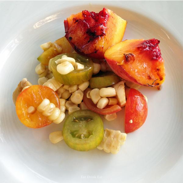Grilled Peach Tomato & Corn Salad