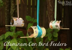 Aluminum can bird feeders, great way to recycle those old cans!