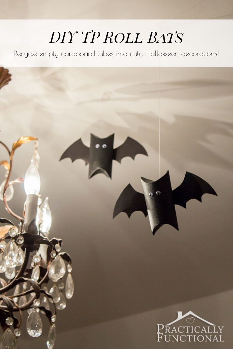 Make these super cute bats in just a few minutes with an empty cardboard tube, paint, googly eyes, construction paper, and glue!