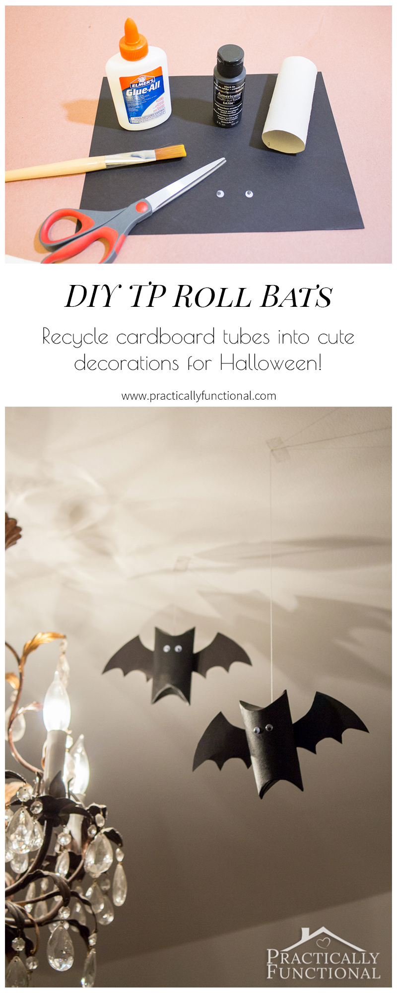 Make these super cute flying bats for Halloween in just a few minutes!