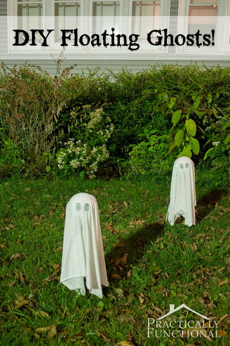 Halloween lawn decoration ideas - Diy Floating Halloween Ghosts For Your Yard