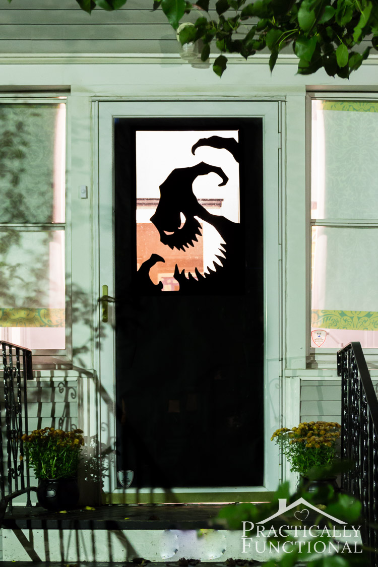 Make your own Halloween door decorations with vinyl! A spooky Oogie Boogie silhouette is the perfect way to welcome trick-or-treaters!